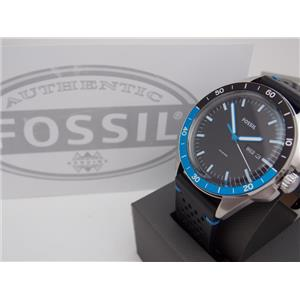 Fossil FS5321 Mens Sport 54 Watch. Round Steel Case.Day/Date.Black Leather Strap