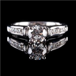 14k White Gold Round Cut Diamond Solitaire Engagement Ring W/ Accents .87ctw