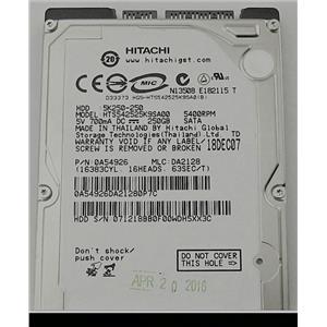 """Hitachi 5K250-250 HTS54252K9SA00 2.5"""" SATA 5400RPM 250GB 0A54926"""