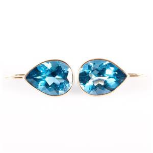 14k Yellow Gold Pear Cut London Blue Topaz Solitaire Drop Earrings 21.16ctw