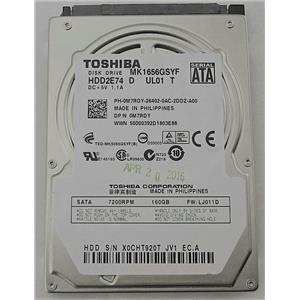 "Toshiba MK1656GSYF HDD2E74 D 2.5"" SATA 7200RPM 160GB 0M7RDY Laptop Hard Drive"