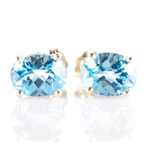 14k Yellow Gold Oval Cut Swiss Blue Topaz Solitaire Stud Earrings 4.25ctw