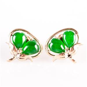 14k Yellow Gold Pear Cabochon Cut Nephrite Jade Stud Earrings W/ Butterfly Backs