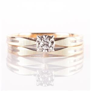 Vintage 1960's 10k Yellow Gold Diamond Engagement / Wedding Ring Set .05ct