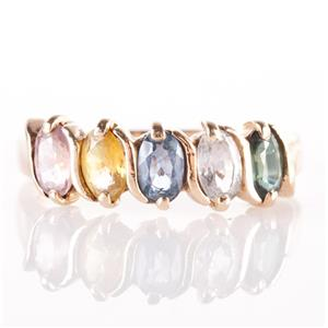 14k Yellow Gold Green / White / Blue / Yellow / Pink Sapphire Ring 1.25ctw