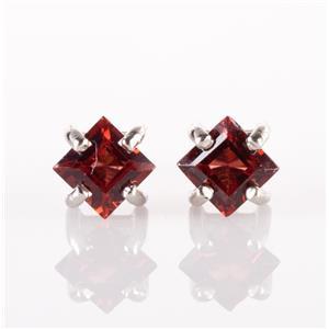 14k White Gold Square Cut Rhodolite Garnet Solitaire Stud Earrings .80ctw