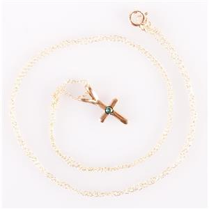 """14k Yellow Gold Round Cabochon Cut Turquoise Cross Pendant W/ 18"""" Chain"""