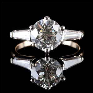 14k Yellow & White Gold Diamond Solitaire Engagement Ring W/ Accents 2.45ctw