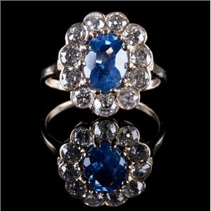 Vintage 1880's 14k Yellow Gold Oval Cut Sapphire & Diamond Halo Ring 3.03ctw