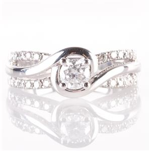 14k White Gold Diamond Solitaire Bypass Engagement Ring W/ Accents .54ctw