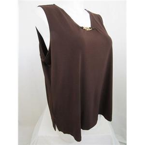 Susan Graver Size 2X Chocolate Liquid Knit Tank with Chain Trim