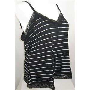 Susan Graver Size 2X Liquid Knit Polyester Lace Trimmed Tank Black Stripe Print