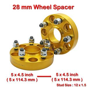 2 pcs 28mm 5 Studs 12 x 1.5 PCD 5 x 114.3 to 5 x 114.3 mm Wheel Spacer Spacers