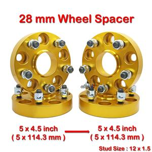 4 pcs 28mm 5 Studs 12 x 1.5 PCD 5 x 114.3 to 5 x 114.3 mm Wheel Spacer Spacers
