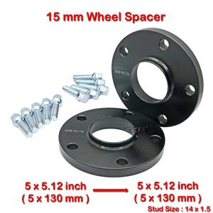 2 pcs 15mm 5 Studs 14 x 1.5 PCD 5 x 130 to 5 x 130 mm Wheel Spacer Spacers