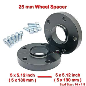2 pcs 25mm 5 Studs 14 x 1.5 PCD 5 x 130 to 5 x 130 mm Wheel Spacer Spacers
