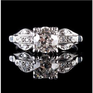Vintage 1910's Platinum Diamond Solitaire Engagement Ring W/ Accents 1.03ctw