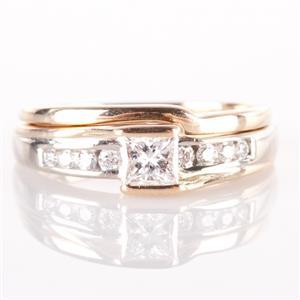 14k Yellow Gold Round Cut Diamond Bypass Engagement / Wedding Ring Set .34ct