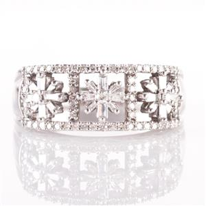 "14k White Gold Round & Baguette Cut Diamond ""Floral"" Cocktail Ring .565ctw"