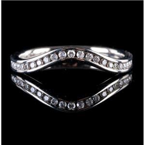 14k White Gold Channel Set Diamond Wedding / Anniversary Shadow Band .27ctw