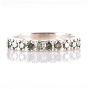 14k White Gold Round Cut Green Diamond Wedding / Anniversary Band .40ctw