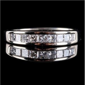 14k White Gold Princess Cut Diamond Channel Set Wedding / Anniversary Ring .58ct