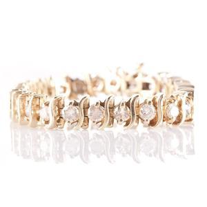 "14k Yellow Gold Round Cut Cognac Diamond ""S Style"" Tennis Bracelet 5.0ctw"