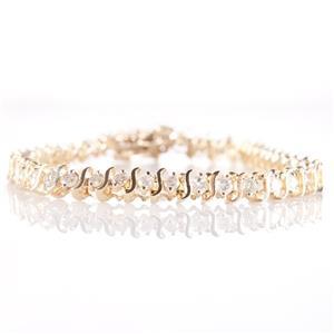 "14k Yellow Gold Round Cut Diamond ""S Style"" Tennis Bracelet 2.5ctw"