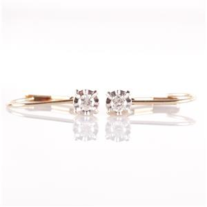 14k Yellow & White Gold Round Cut Diamond Solitaire Dangle Earrings .09ctw