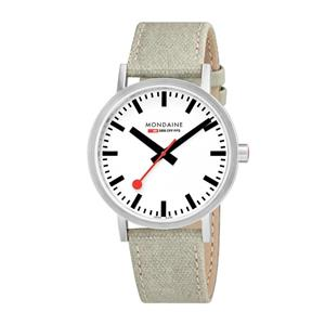 Mondaine Watch A660.30360.16SBG Mens Classic.Swiss Movement,Canvas Leather Strap