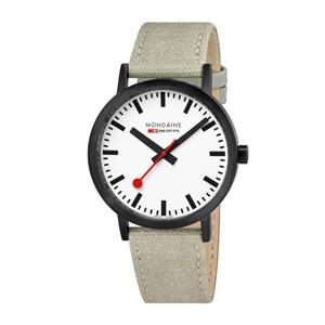Mondaine Watch A660.30360.61SBG  Mens Classic Black.Swiss,Canvas Leather Strap