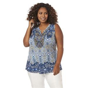 Catherines Size 1X Tranquil Soul Blue Print Polyester Embellished Tank