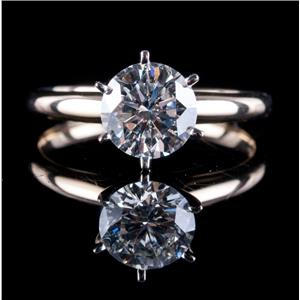 14k Yellow & White Gold Round Cut Diamond Solitaire Engagement Ring 1.61ct