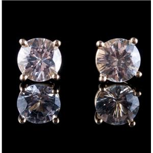 14k Yellow Gold Round Cut White Zircon Solitaire Stud Earrings 1.3ctw