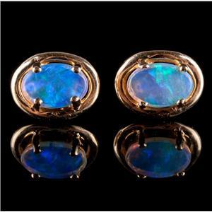 14k Yellow Gold Oval Doublet Cut Opal Solitaire Stud Earrings