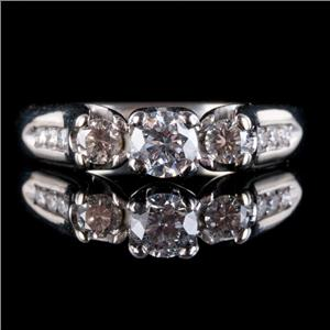 14k White Gold Round Cut Diamond Three-Stone Engagement Ring W/ Accents .71ctw