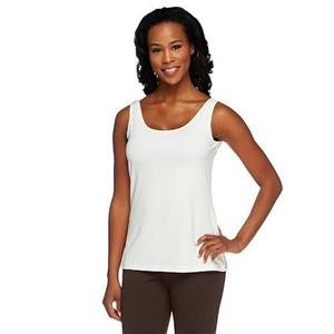 Susan Graver Essentials Size 1X Butterknit (Polyester) Layering Tank in Ivory
