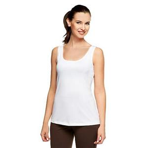 Susan Graver Essentials Size 1X Butterknit (Polyester) Layering Tank in White