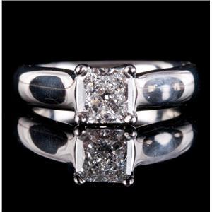Platinum Square Cut Diamond Solitaire Engagement Ring 1.03ct W/ GIA Diamond Cert