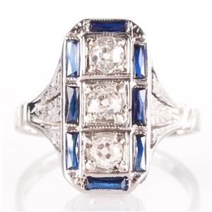 Vintage 1910s Platinum & 14k White Gold Diamond & Sapphre Engagement Ring .69ctw