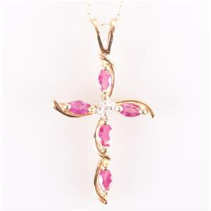 "10k Yellow Gold Marquise Cut Ruby & Diamond Cross Pendant W/ 16"" Chain .248ctw"