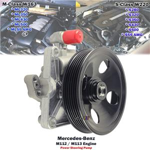 Power Steering Pump For Mercedes Benz S-Class S280 S320 S350 S430 S500 S55 AMG