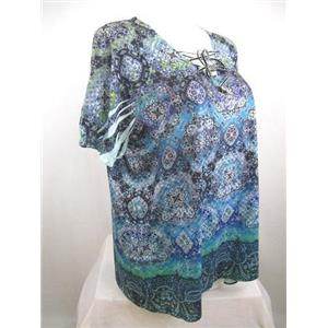 Catherines Size 0X Blue Print Peasant Style Lace Up V-Neckline Embellished Top