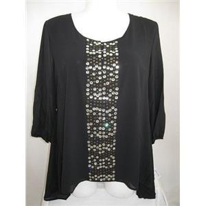 Modamix by Brandon Thomas 18/20 3/4 Sl Embellished Side Tail Polyester Black Top