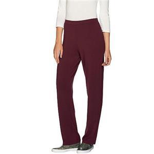 Susan Graver Size 1X Cabernet Dolce Knit Comfort Waist Pull-On Pants