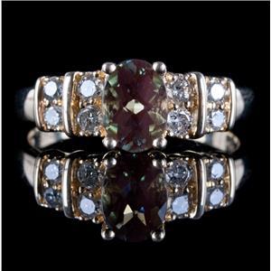 14k Yellow Gold Oval Checkerboard Cut Labradorite Ring W/ Diamond Accents .79ctw