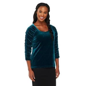 Susan Graver Size XL Dark Teal Stretch Velvet U-neck Top with Ruched 3/4 Sleeves