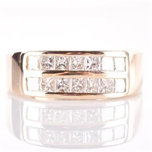 18k Yellow Gold Round Cut Channel Set Diamond Wedding / Anniversary Ring 1.96ctw