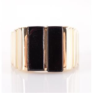 18k Yellow Gold Rectangle Cut Onyx Cocktail Ring 11.7g Size 8.5