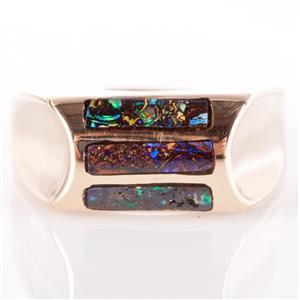 14k Yellow Gold Natural Boulder Opal Inlay Ring 8.5g Size 10.5